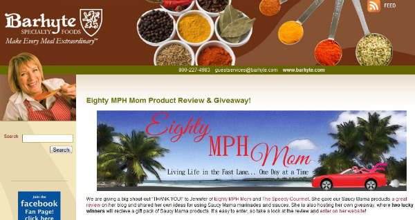 Barhyte Specialty Foods mentions Eighty MPH Mom