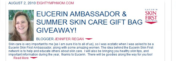 Eighty MPH Mom Eucerin Ambassador