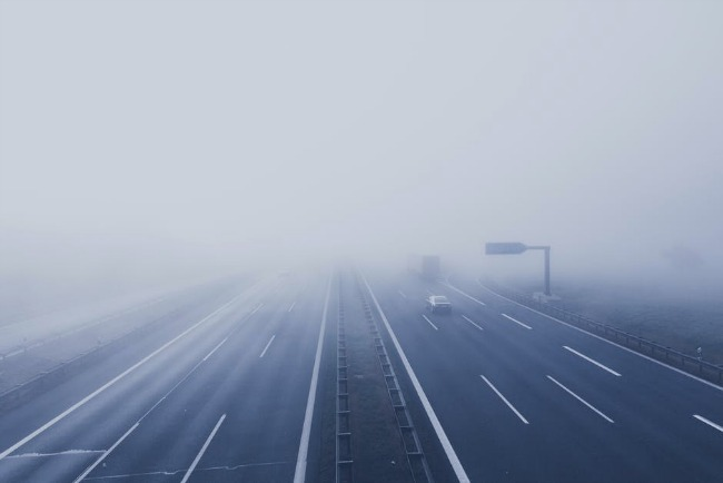 foggy freeway