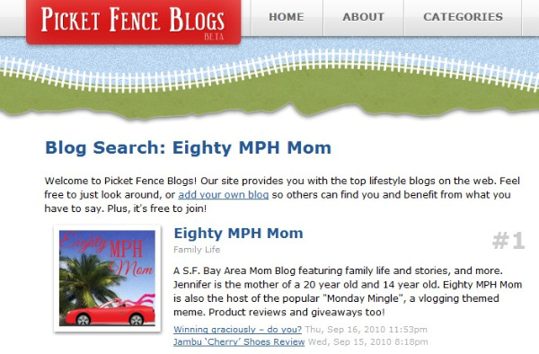 Eighty MPH Mom #1 Picket Fence blogs, Top blogs