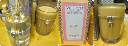 Votiva Morning Violet candle, violet scented reed diffusers
