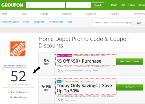 groupon coupons home depot