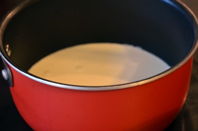 heavy cream in a sauce pan