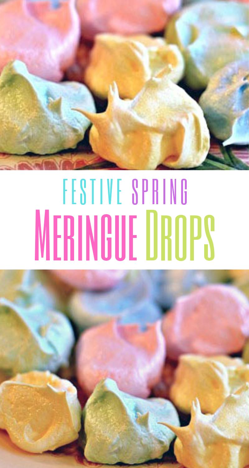 festive spring meringue drops