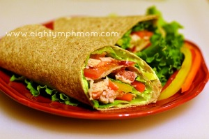 chicken wraps, avocado dressing