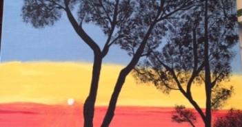 tree on sunset painting