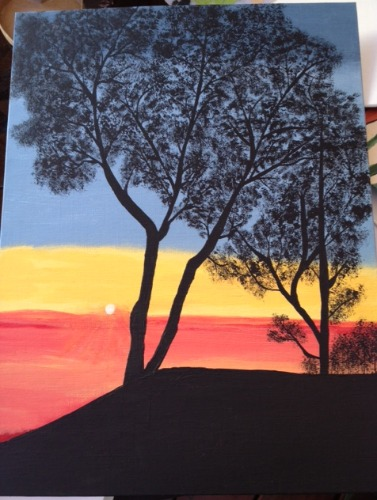 tree on sunset painting