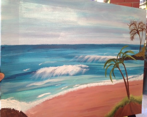 beach painting,palm trees