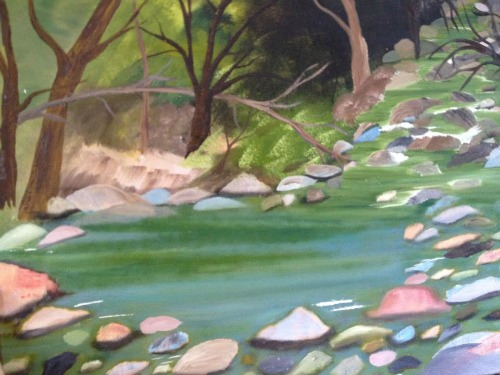 lake with rocks painting