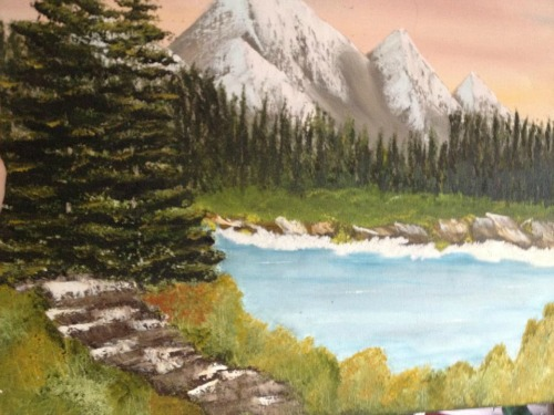 lake with path painting
