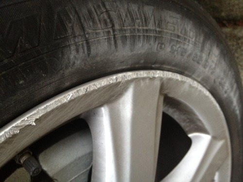 student driver,scraped tire
