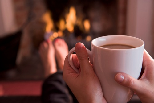 fireplace with coffee