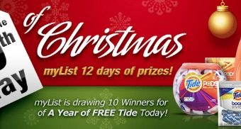 myList 12 Day of Christmas – today win free Tide for a Year!