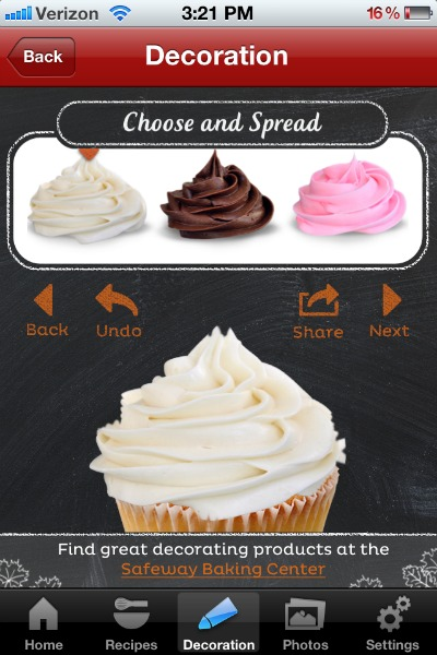 Safeway Chef Assistant App, virtual cupcake decorating apps