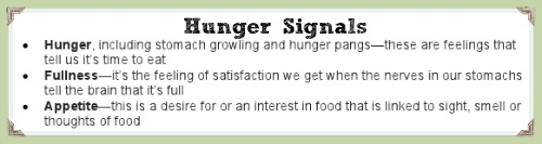 hunger signals, everyday healthy values