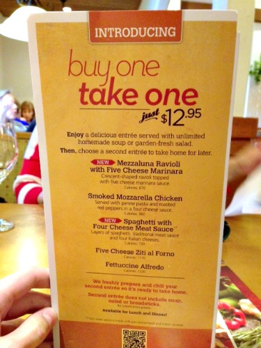 Menu For Olive Garden: Olive Garden Buy One, Take One Menu Items