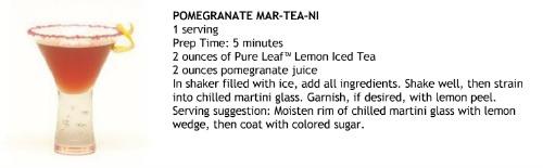 pure leaf tea,recipe,Pomegranate,Mar-tea-ni