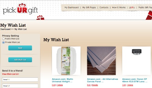 pick UR gift,wish list service,holiday shopping