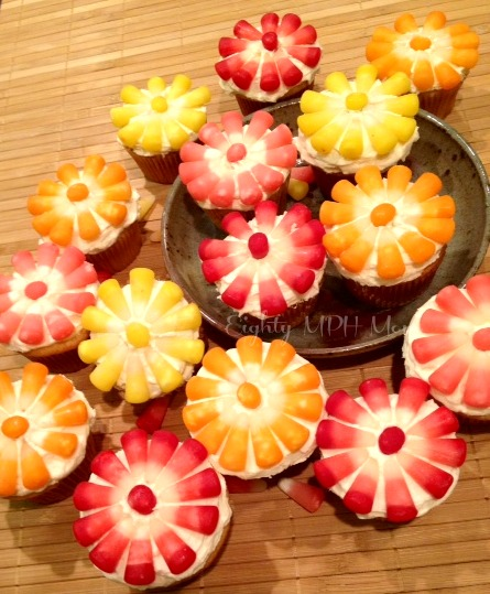 Halloween Cupcake Decorations With Candy Corn Starburst,candy Corn,cupcakes