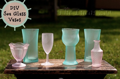DIY,Sea glass,vases,modge podge
