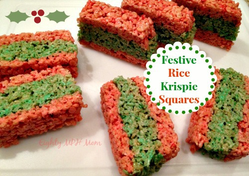 rice krispie,treats,square,festive,holiday,bars