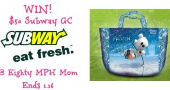 giveaway,Subway,Fandango,Frozen,gift card,