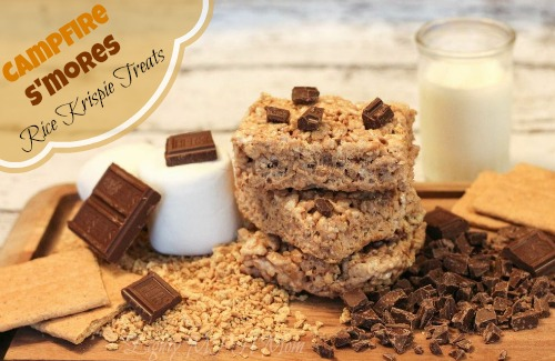 Bring the outdoors inside with these yummy Campfire Rice Krispie Treat S'mores #camping #Smores