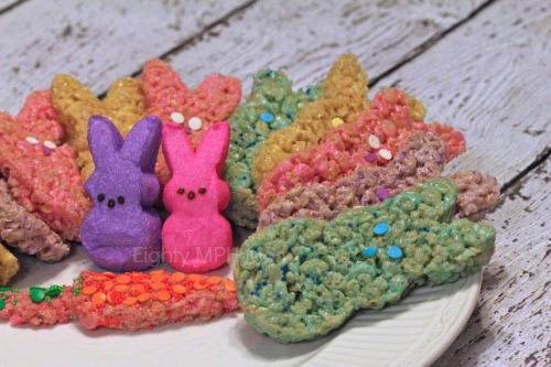 ... had a plateful of colorful Peeps Easter Bunny Rice Krispie Treats