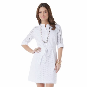 daisy fuentes Eyelet Roll-Tab Shirt Dress