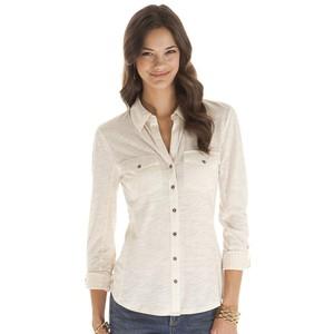 daisy fuentes Slubbed Roll-Tab Shirt