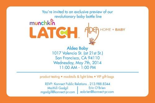 Munchkin,LATCH,Aldea Baby,San Francisco,event,party,invitation