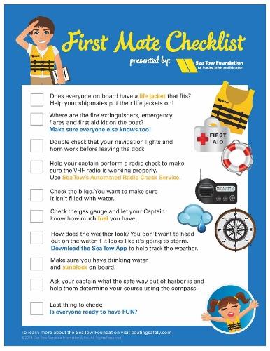 Sea Tow First Mate Checklist