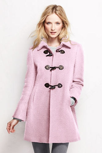 Lands' End, Women's Basketweave Wool Toggle Coat