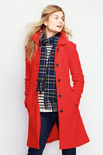 Lands' End, Women's Boiled Wool Walker Coat