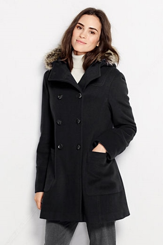 Lands' End, Women's Wool Blend Cashmere Duffle Coat