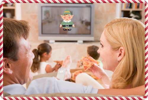 family watching movie,elf,holiday,movies