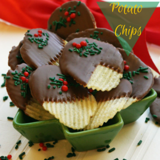 Holiday chocolate covered ,potato chips,christmas,