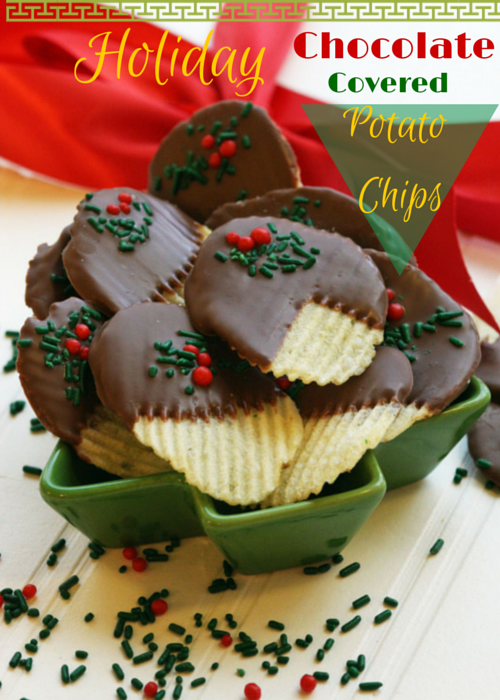 Holiday chocolate covered ,potato chips,christmas,