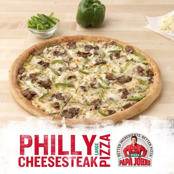 papa johns philly cheesesteak pizza, #papajohns and #betteringredients