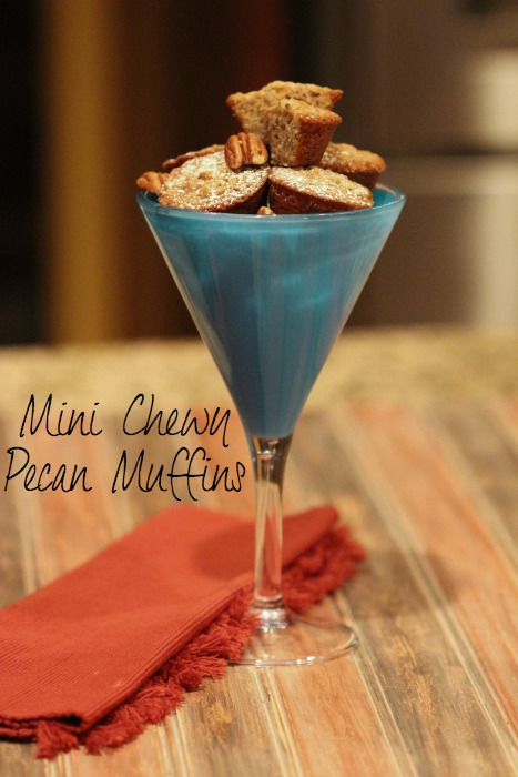 mini chewy pecan muffins