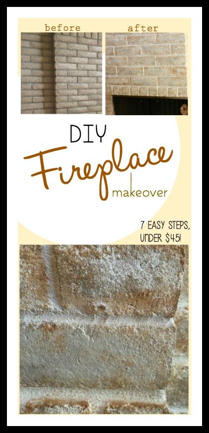 DIY-Brick-Fireplace-Makeover-#DIY-#Homedecor