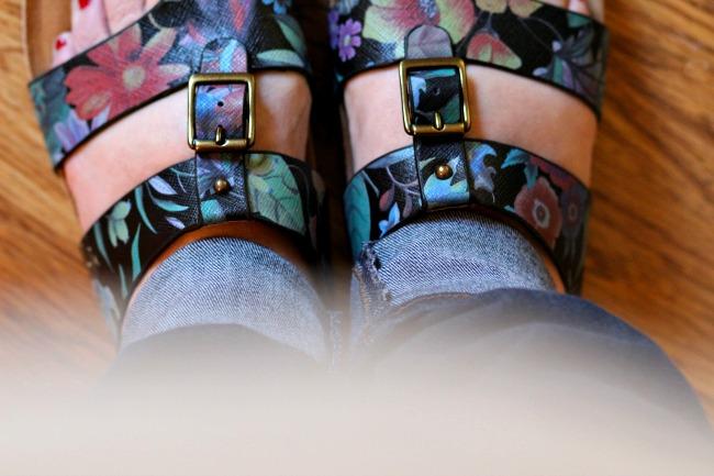 black floral sandals
