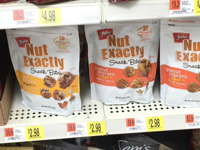 fisher nut Exactly snack bites at Walmart