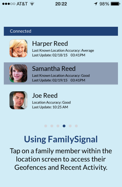 family signal app recent activity