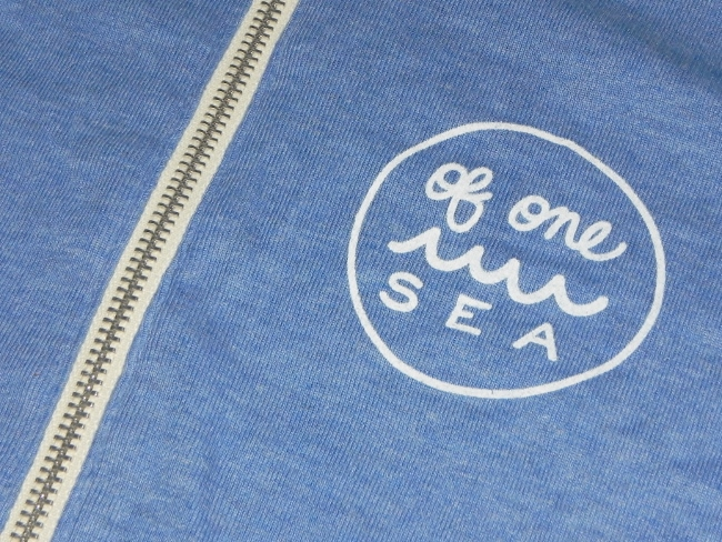 OF ONE SEA - Powder Blue Tri-Blend Unisex Lightweight Zip-Up Hoodie