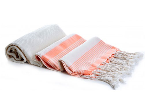 OF ONE SEA - Bamboo Turkish Towel-Blanket Tangerine Multi-Stripe