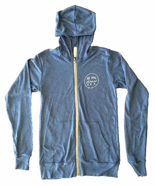 OF ONE SEA - Powder Blue Tri-Blend Unisex Lightweight Zip-Up Hoodie