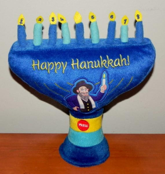 Mensch on a Bench Menorah