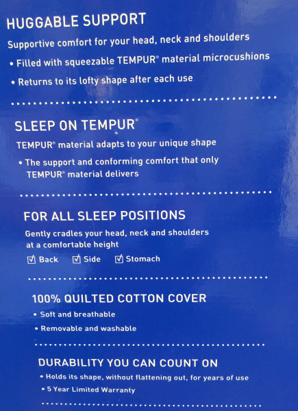 tempur-pedic pillow features