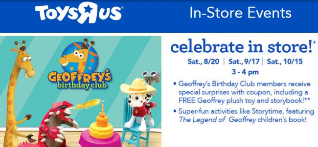 "Toys""R""Us Geoffrey's Birthday Club In-Store Events"